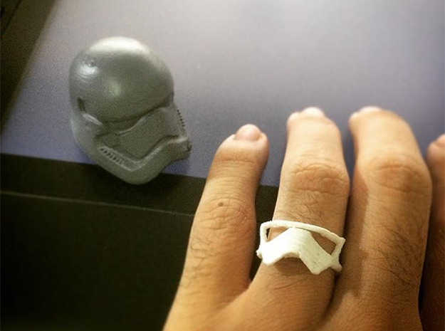 Star wars Stormtrooper Ring v.1.0 in Polished Silver: 7 / 54