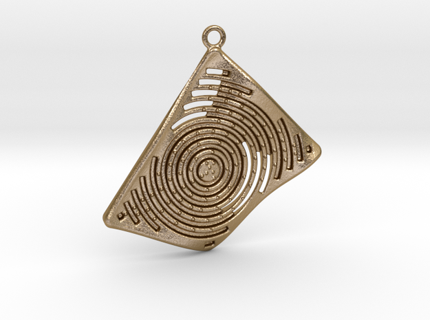 3D Printed Contemporary Pendant 03 - OMD3d.com in Polished Gold Steel