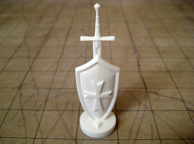 Role Playing Counter: Sword & Shield 3d printed Sword & Shield in Strong & Flexible Plastic (Polished White)