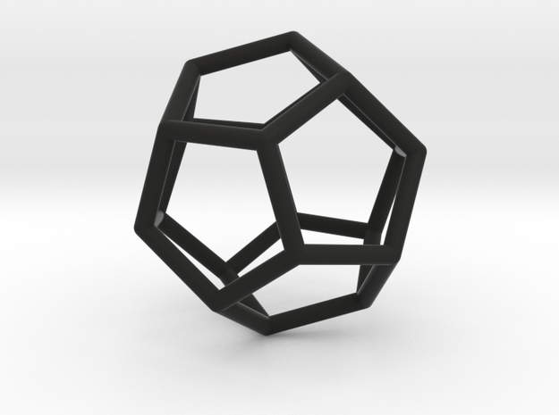 Dodecahedron Pendant in Black Natural Versatile Plastic