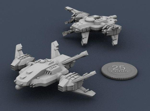 Ryuushi Warleader 3d printed Render of the ship plus a virtual quarter for scale.
