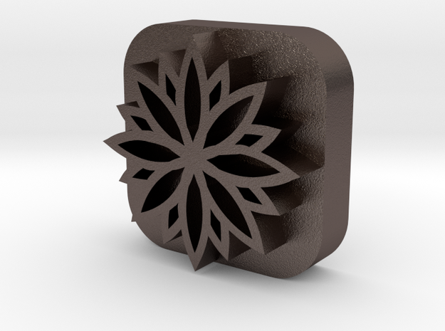 Flower-stamp in Polished Bronzed Silver Steel