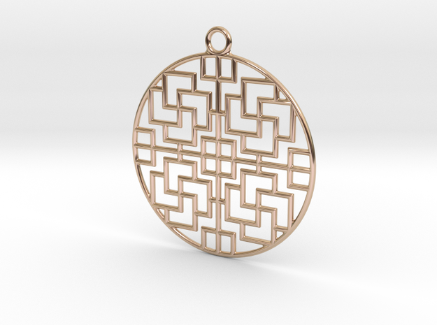 Pendant Chinese Motif 2 in 14k Rose Gold Plated Brass