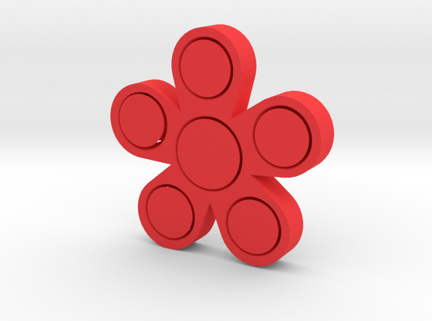 Fidget Flower in Red Strong & Flexible Polished