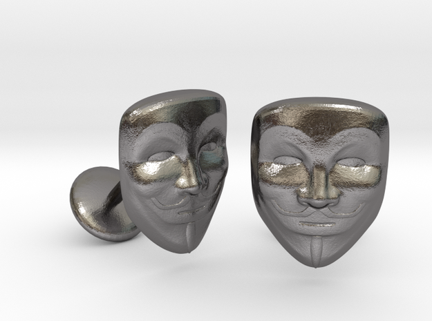 Vendetta Mask Cufflinks in Polished Nickel Steel