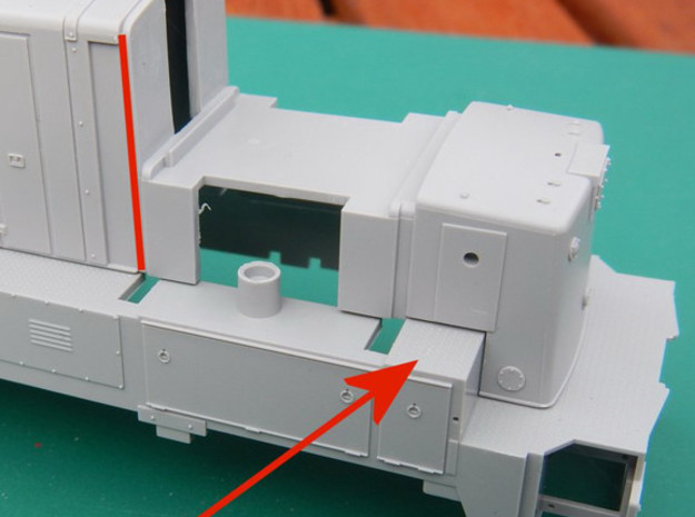 HO 1:87 Scale BQ23-7 cab V2 3d printed It is obvious really where to cut but you also need to remove the check plate. By offering the cab up to the shell you can easily see where to fit the cab.