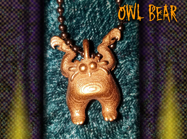Owl Bear in Polished Bronze Steel