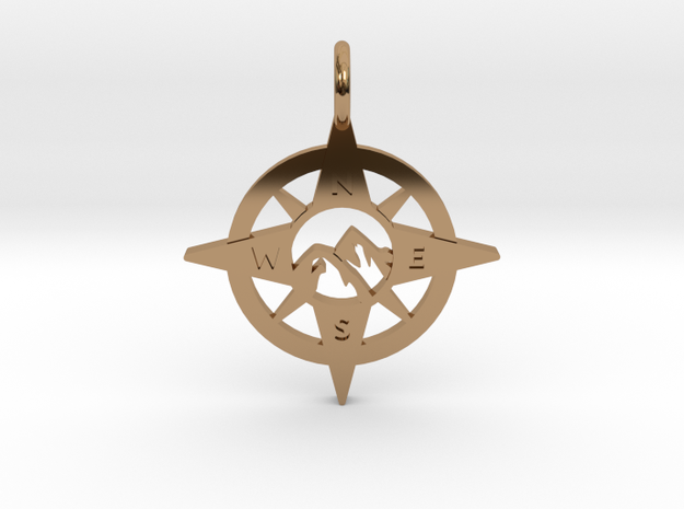 Compass and Mountains Pendant in Polished Brass