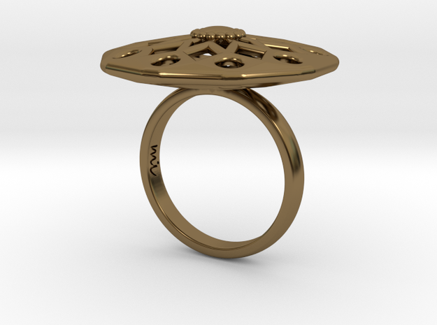 Geometric Flower ZF2 Ring Size 7 in Polished Bronze