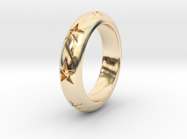 Ring Of Stars 14.1mm Size 3 in 14K Yellow Gold