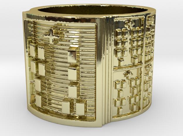 OGUNDALENI Ring Size 13.5 in 18k Gold Plated Brass