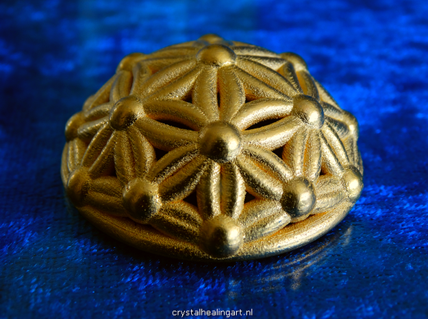 Flower Of Life Dome in Polished Gold Steel