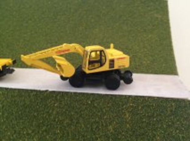 N Gauge Komatsu Road Rail Excavator in Smooth Fine Detail Plastic