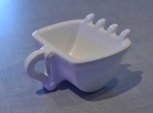 Bulldozer cup Espresso size : 60ml 3d printed in white for a change