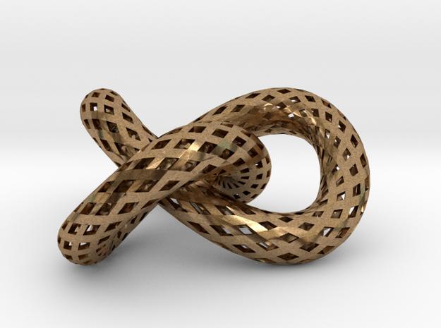 Trefoil knot, strips in Raw Brass