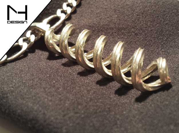 Pendant Infinity 3d printed Polished Silver