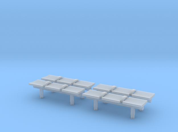 TJ-H04550x4 - bancs de quai 3 places in Smooth Fine Detail Plastic