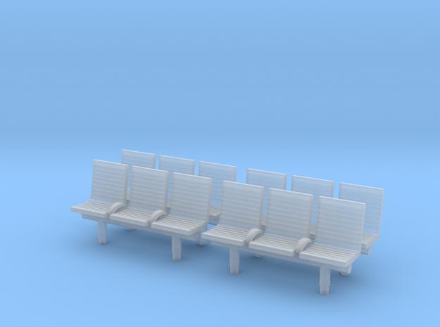 TJ-H04552x4 - bancs de quai 3 places avec dossier in Smooth Fine Detail Plastic