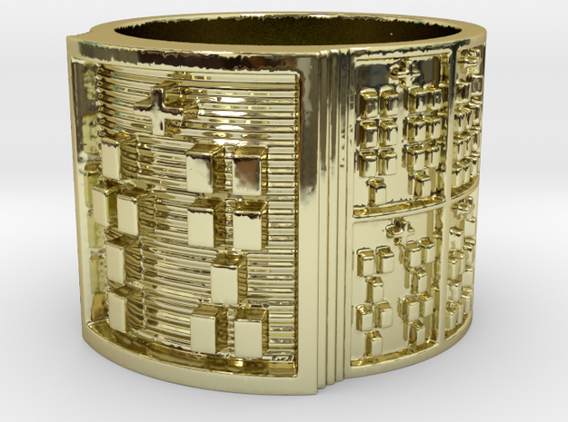OTRUPONTAURO Ring Size 14 in 18k Gold Plated Brass