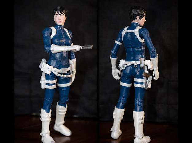 FB01-BeltPack-06s  6inch 3d printed Belts printed inWhite Strong & Flexible Polished were used on this figure