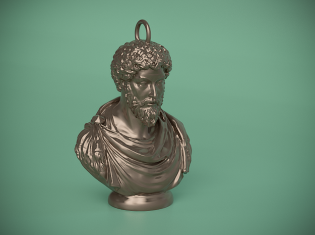 Marcus Aurelius Keychains 2 inches tall in Polished Bronze Steel