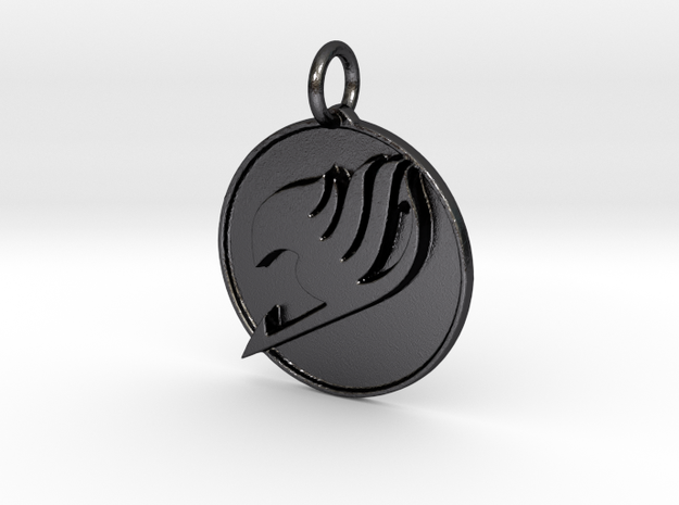 Fairy Tail pendant in Polished Grey Steel