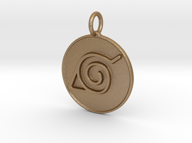 Naruto Konoha pendant in Matte Gold Steel
