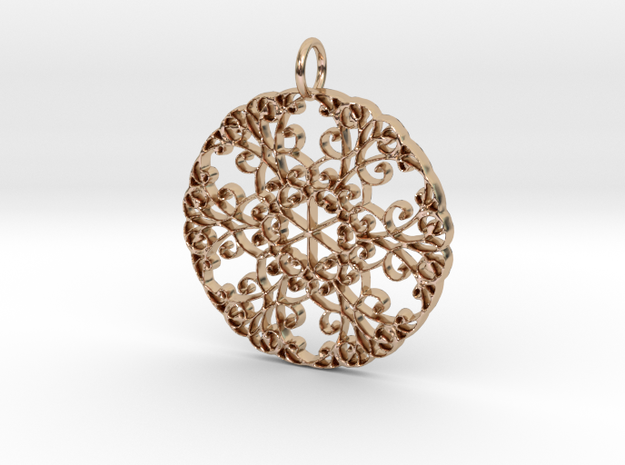 Elegant Flourish Beautiful Pendant Charm in 14k Rose Gold Plated Brass