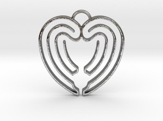 Heart Shape Angel Wings in Polished Silver
