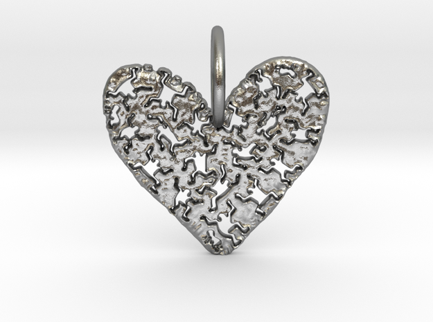 Keith Haring Heart Pendant in Natural Silver