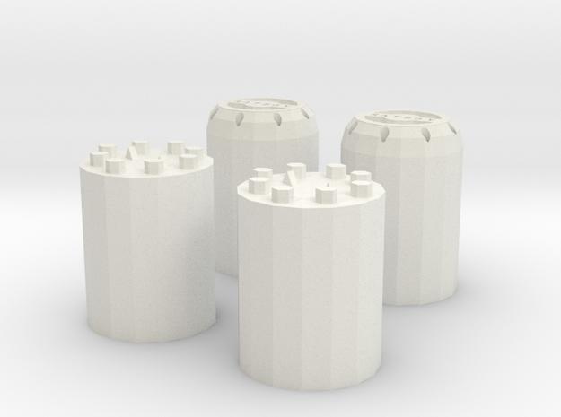 Wheel Hubs in White Natural Versatile Plastic