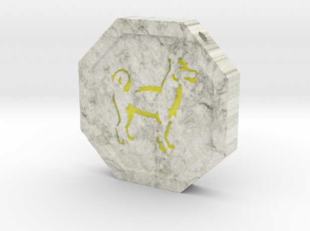 Dog Talisman in Glossy Full Color Sandstone