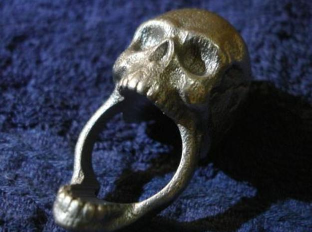 Skull Ring (size 12) 21,3mm in Polished Bronzed Silver Steel