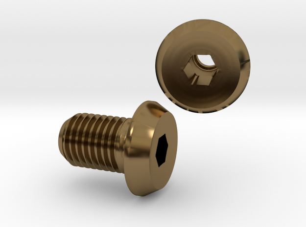 Boss Bolt, 0G to 00G hex bolt flesh tunnel in Polished Bronze