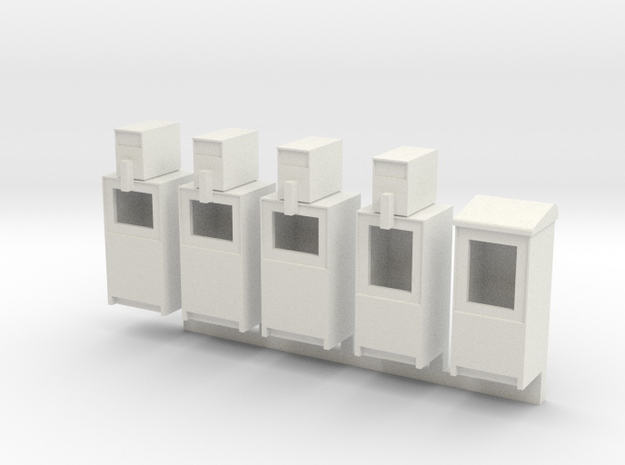 Newspaper Boxes in 1:35 scale in White Natural Versatile Plastic