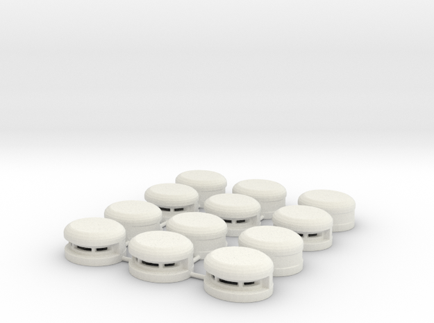 Set of 12 Oval Bunker / Pill Box in White Strong & Flexible