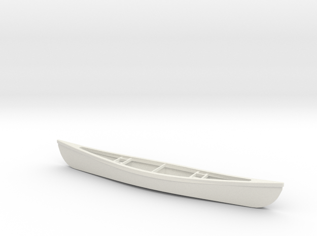 1/24 Scale 18 Ft Canoe in White Natural Versatile Plastic