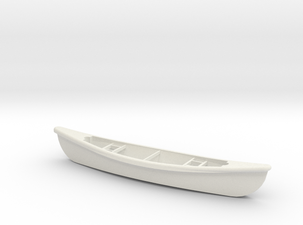 1/24 Scale 15 Ft Canoe in White Natural Versatile Plastic