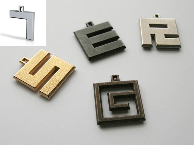 ABC Pendant - 7 Type - Solid - 24x24x3 mm 3d printed