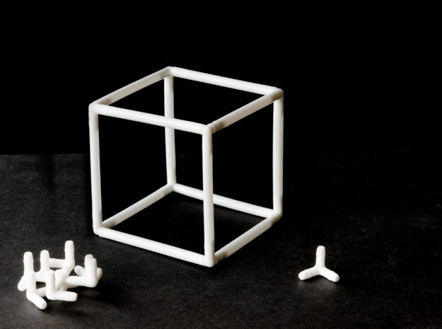Cube Milk Straw Connectors in White Natural Versatile Plastic