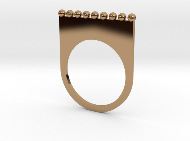 Jewelled flat ring (size 7) in Polished Brass