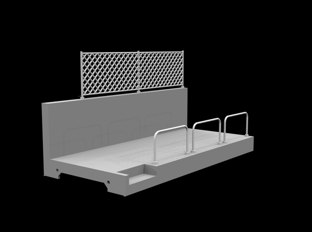 Pit Wall - slot car track (1:43) in White Strong & Flexible Polished