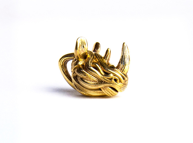 Rhino Pendant - Head  3d printed 3D Print in polished Brass