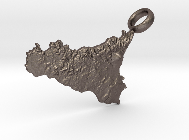 Sicily Realistic Keychain [with custom text] in Polished Bronzed Silver Steel