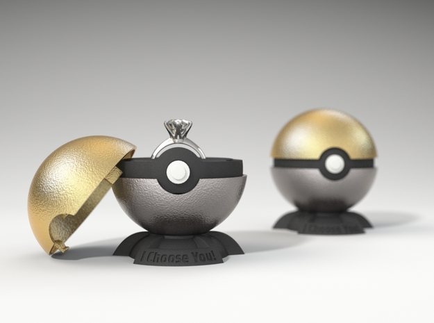 "Pokeball Pokemon Go ""Ring Box"" METALLIC TOP COVER"