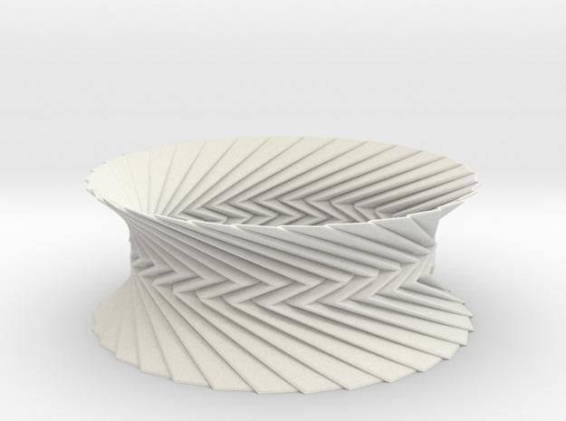 Bracelet HP 1 - Miura Origami Inspired Design in White Natural Versatile Plastic