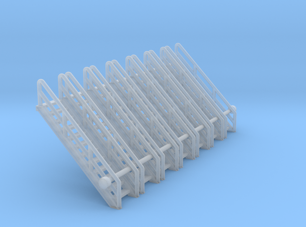N Scale Stairs 12 (7pc) in Smooth Fine Detail Plastic