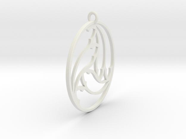 Gothic Triskel Pendant in White Natural Versatile Plastic