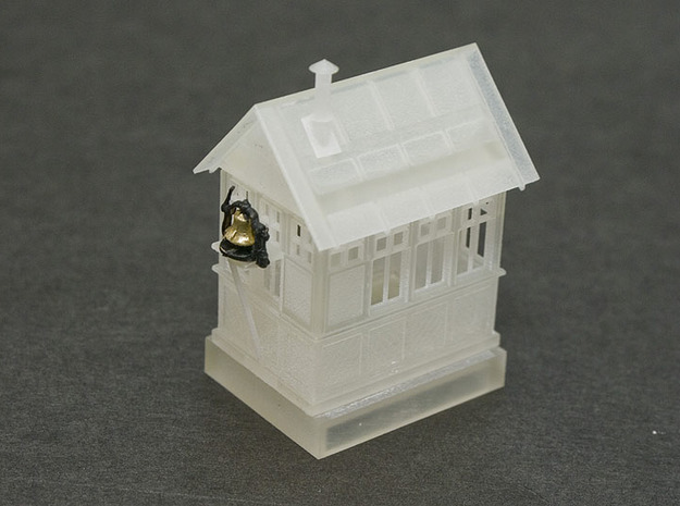 CPR John Street Gatehouse - HO Scale (1/87) 3d printed FUD print assembled with Brass HO Scale Bell on Platform.