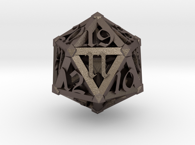 Lattice work D20 with 3D #'s in Polished Bronzed Silver Steel